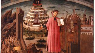 """Le peintre Domenico Michelino a représenté en 1465 lepoète italien Dante (1265-1321) tenant dans ses mains son ouvrage """"La divine comédie"""" sur fond d'enfer, de purgatoire et de paradis. (DAVID LEES / THE CHRONICLE COLLECTION / GETTY)"""