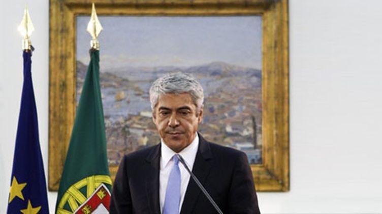 Le Premier ministre portugais José Socrates annonçant sa démission le 23 mars 2011 (AFP/PATRICIA DE MELO MOREIRA)