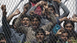 Le camp de Moria à Lesbos en Grèce ou sont regroupés les migrants, le 5 avril 2016 (PETROS GIANNAKOURIS / AP / SIPA)