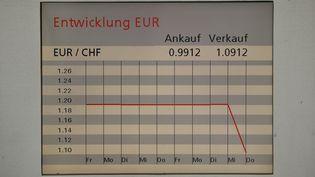 Un écran montre le cours d'échange du franc suisse et de l'euro, dans un bureau de la banque suisse UBS, à Zurich (Suisse), le 15 janvier 2015. (ARND WIEGMANN / REUTERS)