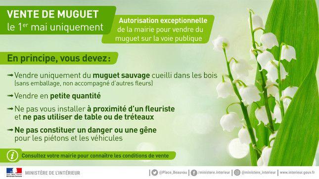 Consignes officielles de vente du muguet le 1er mai. (MINISTERE DE L'INTERIEUR)