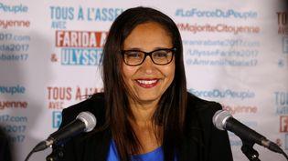 Farida Amrani, candidate de La France insoumise, face à Manuel Valls, dans la première circonscription de l'Essonne. (MAXPPP)