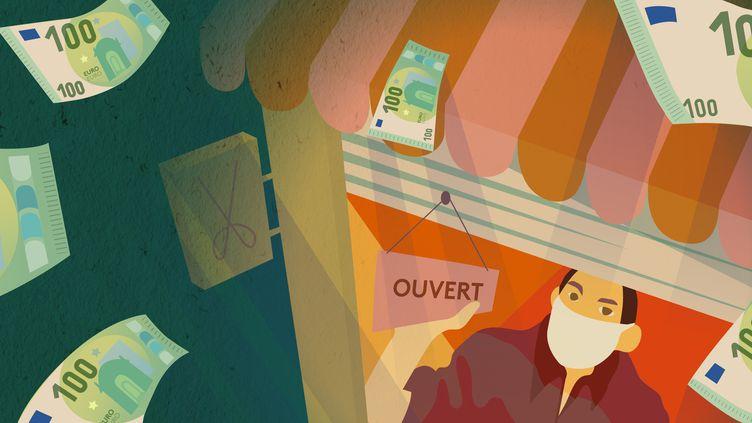 Les mesures d'urgence pourmaintenir sous perfusionl'économie, mise à l'arrêt par les mesures de confinement, s'élèvent à 110 milliards d'euros en France. (JESSICA KOMGUEN / FRANCEINFO)