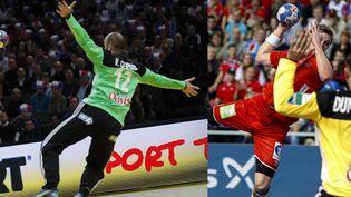Les gardiens de l'équipe de France de handball, Vincent Gérard, à gauche, et Cyril Dumoulin, à droite. (montage THOMAS SAMSON / AFP - MAXPPP)