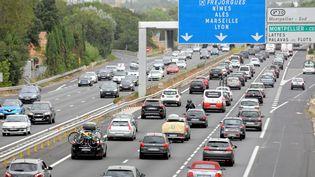 Un ralentissement est observé le 9 août 2015 à hauteur de Montpellier (Hérault). (MAXPPP)