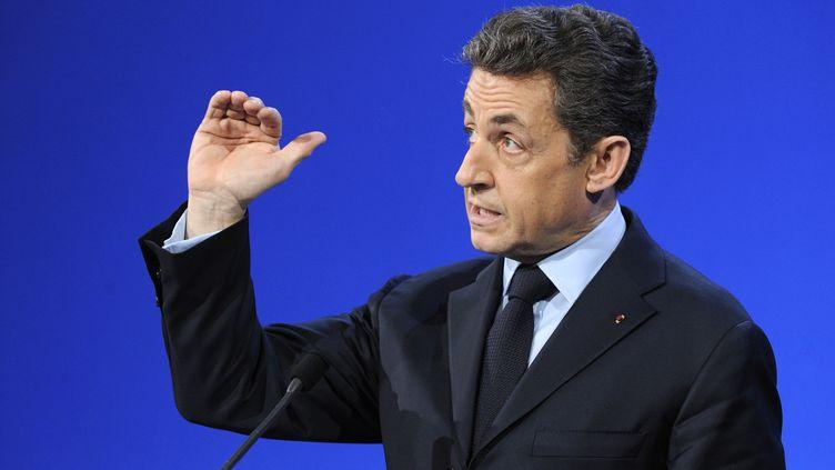 Le président de la République, Nicolas Sarkozy, lors de ses vœux aux acteurs du monde économique, le 19 janvier 2012 à Lyon (Rhône). (ERIC FEFERBERG / AFP)