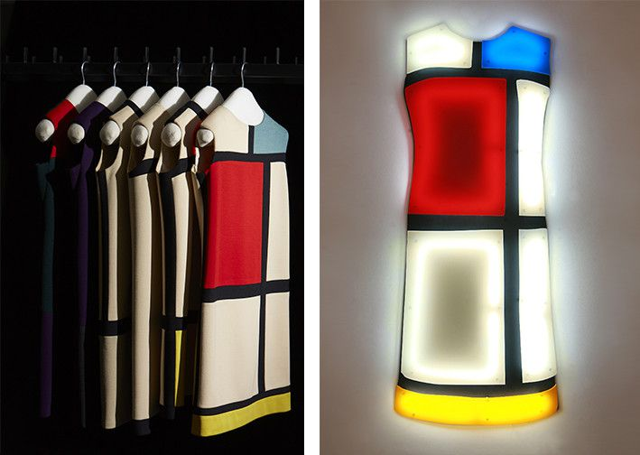 Robes de cocktail, hommage à Serge Poliakoff et Piet Mondrian. Collection haute couture automne-hiver 1965 + Nicolas Saint Gregoire. Projet Yves Saint Laurent-Robe Mondrian, 2009-2012.  ©photo Brigitte Sauvignac  (Yves Saint Laurent/photo Sophie Carre + photo Brigitte Sauvignac)