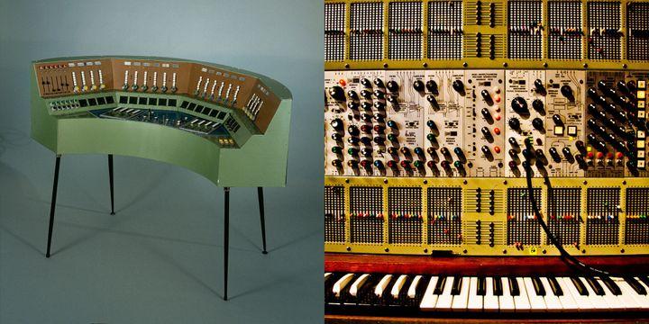 Gmebaphone 2 Christian Clozier France 1975 (à gauche) et Arp 2500 appartenant à Jean-Michel Jarre.  (Musée de la musique photo Anglès - Edda-JMJ photo Eric Cornic)