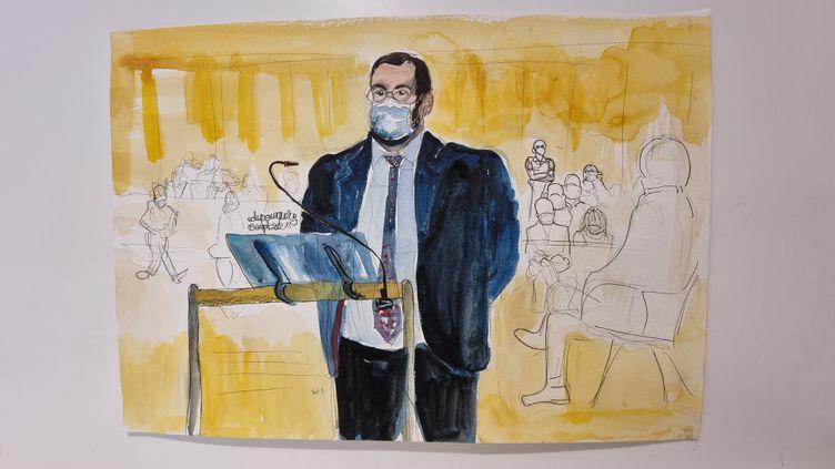 Alexandre Benallaau premier jour de son procès devant le tribunal correctionnel de Paris, le 13 septembre 2021. (ELISABETH DE POURQUERY / FRANCEINFO)