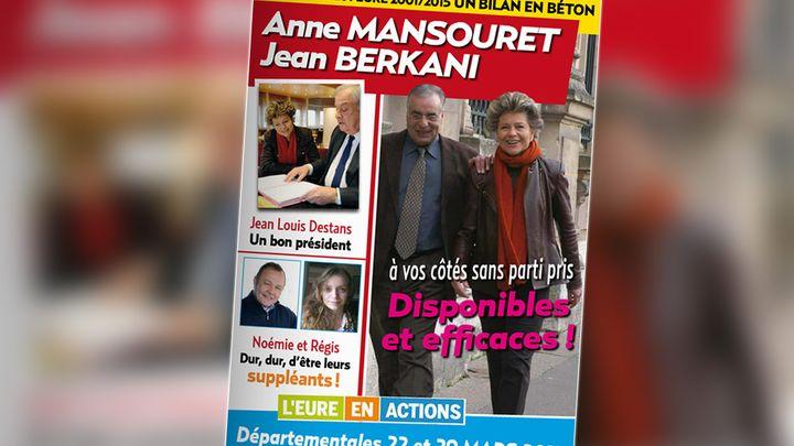 La profession de foi d'Anne Mansouret et Jean Berkani, candidats aux élections départementales des 22 et 29 mars 2015 dans l'Eure. (ANNE MANSOURET, JEAN BERKANI / FRANCETV INFO)