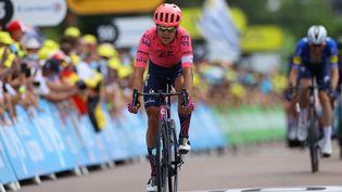 Magnus Cort Nielsen à l'arrivée de la 7e étape du Tour de France 2021 entre Vierzon et Le Creusot, vendredi 2 juillet. (TIM DE WAELE / MaxPPP)