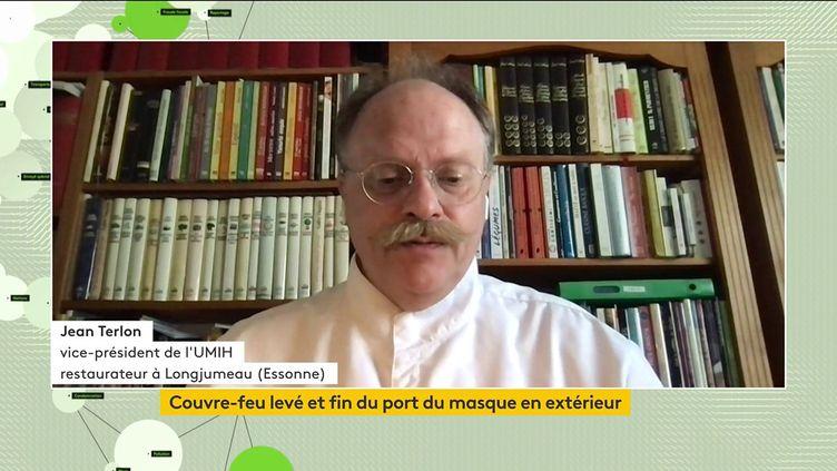 Jean Terlon,vice-président de l'Union des métiers et des industries de l'hôtellerie (UMIH) était, mercredi, l'invité du journal télévisé de la chaîne franceinfo. (FRANCEINFO)