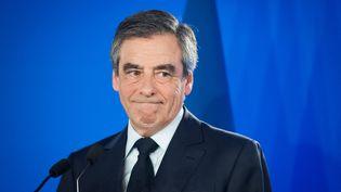 François Fillon, le 23 avril 2017 à Paris. (BENJAMIN MENGELLE / HANS LUCAS / AFP)