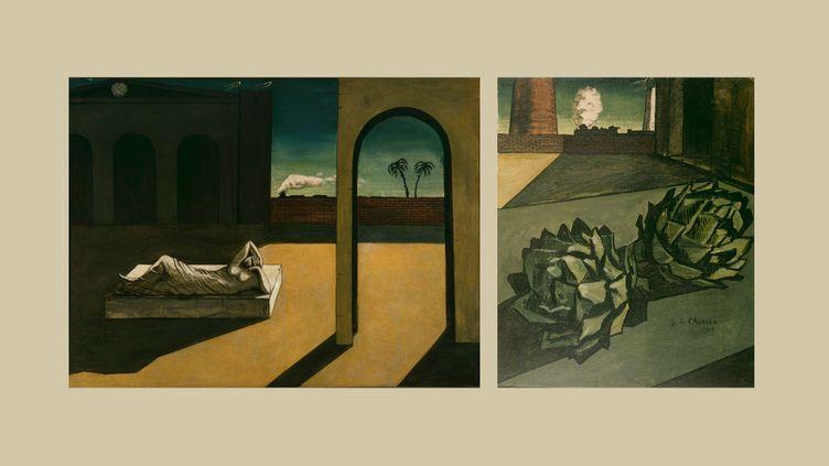 """Giorgio de Chirico : à gauche, """"La récompense de la devineresse"""", 1913,Philadelphia Museum of Art, The Louise and Walter Arensberg Collection, 1950 - à droite """"Mélancolie d'un après-midi"""", 1913, Paris Centre Pompidou - Musée national d'art moderne - Centre de création industrielle (A gauche © Artists Rights Society (ARS), New York / SIAE, Rome © ADAGP, Paris, 2020 03 - à droite © Centre Pompidou, MNAM-CCI, Dist. RMN-Grand Palais / Jean-Claude Planchet © ADAGP, Paris, 2020)"""
