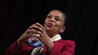 L'ancienne ministre de la justice et garde des Sceaux, Christiane Taubira, à l'Université de New York, le 29 janvier 2016. (JEWEL SAMAD / AFP)