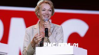 L'animatrice Brigitte Lahaie lors d'une conférence de presse du groupe NextRadioTV, le 2 septembre 2015 à Paris. (THOMAS SAMSON / AFP)