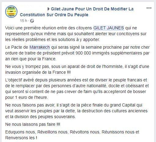 """Un message publié le 3décembre 2018 sur la page d'un groupe Facebook de soutien aux """"gilets jaunes"""", condamnant le pacte de l'ONU sur les migrations. (FACEBOOK)"""