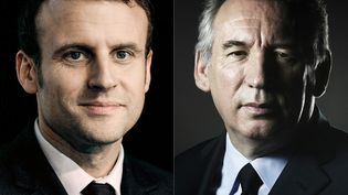 Emmanuel Macron et François Bayrou ont conclu une alliance en vue de la présidentielle, mercredi 22 février 2017. (JOEL SAGET / AFP)