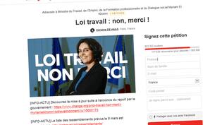 Capture d'écran d'une pétition contre la loi El Khomri sur le site internet Change.org, le 1er mars 2016. (FRANCETV INFO)