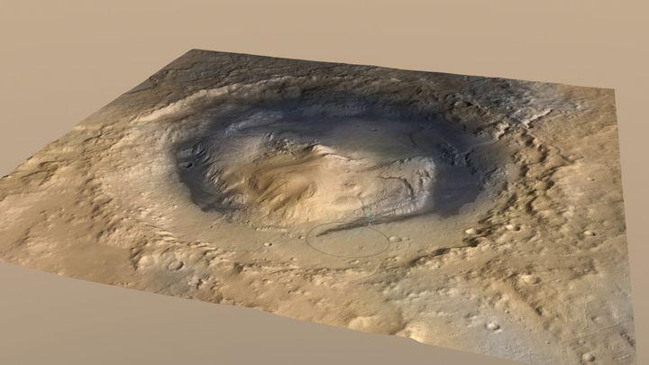 Une modélisation du cratère de Gale exploré par le rover américain Curiosity sur Mars, le 8 décembre 2014. (NASA / REUTERS)