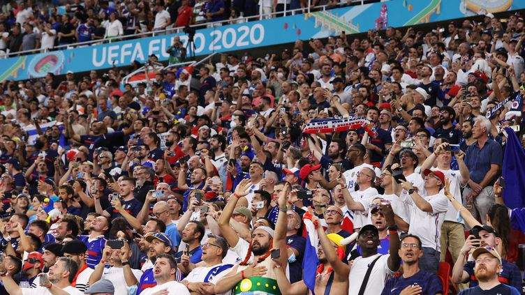 Les supporters français présents à la Puskas Arena, le 23 juin (BERNADETT SZABO / AFP)