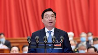 Wang Chen,vice-président du Comité permanent de l'assemblée nationale populaire(ANP) s'exprime lors de l'ouverture de lasession plénière annuelle du parlement chinois, à Pékin (Chine), le 5 mars 2021. (LI TAO / XINHUA / AFP)