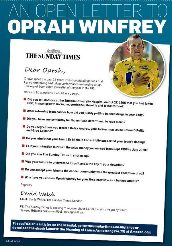 """La page de publicité du """"Sunday Times"""" dans le """"Chicago Tribune"""" de samedi 12 janvier 2013, pour donner des idées de questions pertinentes à Oprah Winfrey, qui doit recevoir Lance Armstrong. (THE SUNDAY TIMES)"""