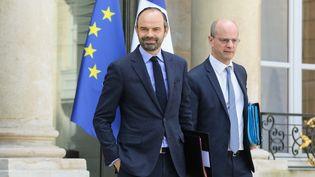 Le Premier ministre Edouard Philippe et le ministre de l'Education Jean-Michel Blanquer à l'Elysée, le 21 mars 2018. (LUDOVIC MARIN / AFP)