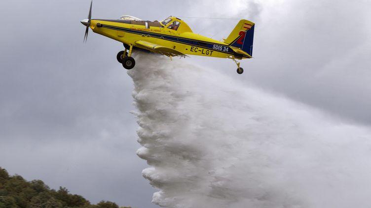 Démonstration d'un avion bombardier d'eau, le 6 juin 2019 (illustration). (GUILLAUME BONNEFONT / MAXPPP)