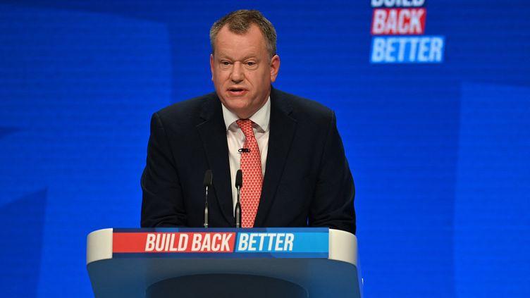 Le secrétaire d'Etat britannique chargé du Brexit, David Frost, lors de la conférence du Parti conservateur à Manchester, le 4 octobre 2021. (PAUL ELLIS / AFP)