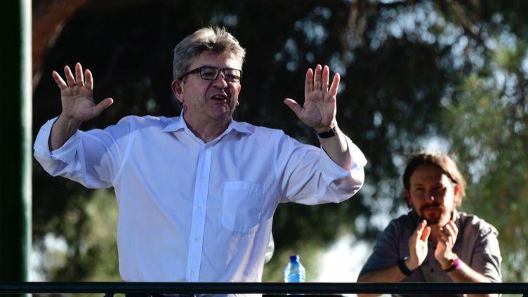 Jean-Luc Mélenchon, le 2 juillet 2018 à Madrid (Espagne). (JAVIER SORIANO / AFP)