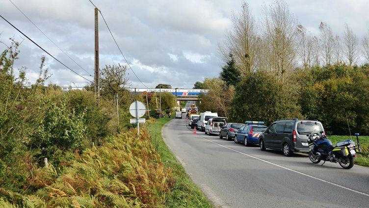 Un TGV arrêté en pleine voie, après une collision mortelle avec une voiture à un passage à niveau près de Noyal (Côtes-d'Armor), le 25 octobre 2019. (MAXPPP)