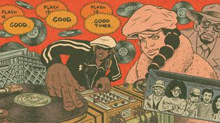 "Grandmaster Flash On The Wheels of Steel par Ed Piskor dans ""Hip Hop Family Tree Tome 1"".  (Ed Piskor)"