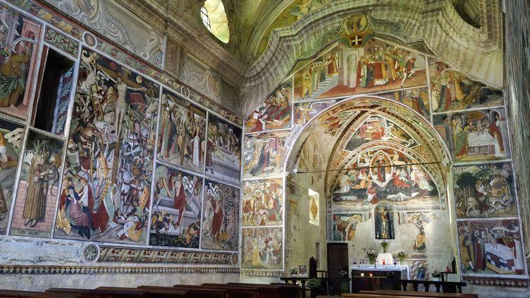 Peintures de la fin du XVe siècle à la chapelle Notre-Dame-des-Fontaines à La Brigue (Alpes-Maritimes, 26 juin 2016) (RIEGER BERTRAND / HEMIS.FR / AFP)