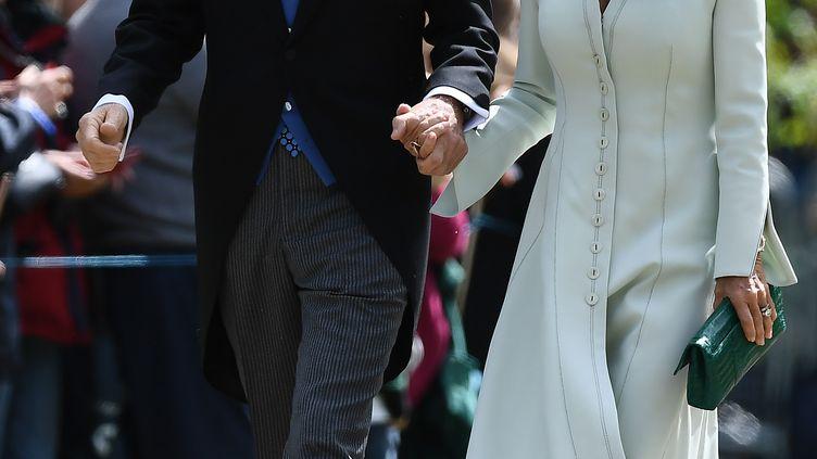 David Matthews et sa femme Jane, au mariage de leur fils Jameset de Pippa Middleton, à Londres (Royaume-Uni), le 20 mai 2017. (JUSTIN TALLIS / AFP)