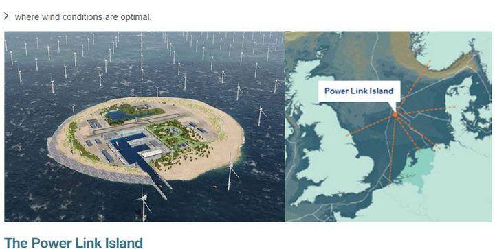 Le projet de l'île aux éoliennes présenté par le site internet de TenneT, le 3 août 2017. (capture d'écran du site TenneT)