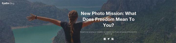 """""""What does freedom mean to you ?"""" (""""Que représente la liberté pour vous ?""""), une opération organisée à l'occasion du 25e anniversaire de la chute du mur de Berlin. Les photos gagnantes seront projetées pendant les commémorations dans la capitale allemande. (DR)"""