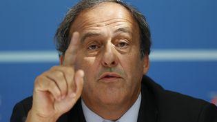 Michel Platini lors d'une conférence de presse à Monaco, le 28 août 2015. (VALERY HACHE / AFP)