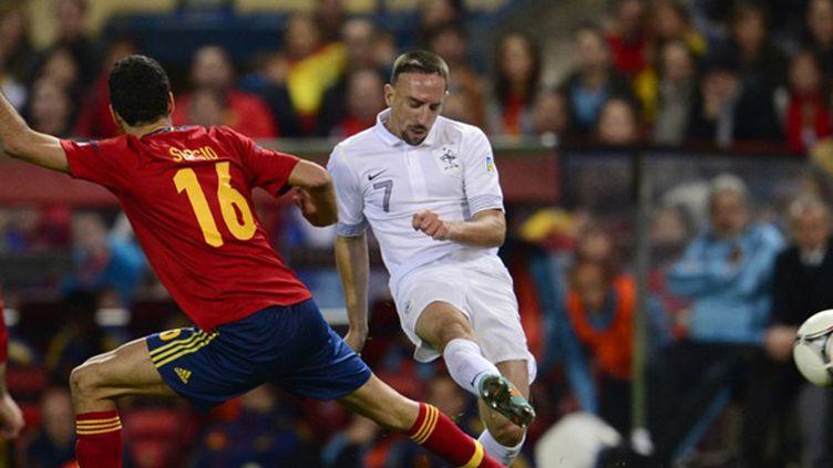 Ribéry tente sa chance, lors du match aller (1-1, le 16 octobre 2012) (JAVIER SORIANO / AFP)
