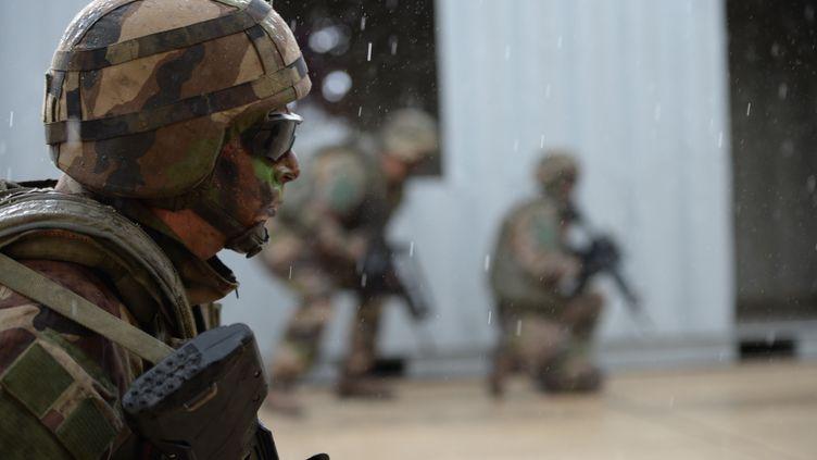 Des soldats participent à un exercice militaire, près d'Orléans le 25 mai 2018. Photo d'illustration. (GUILLAUME SOUVANT / AFP)