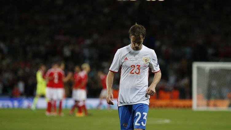 Le joueur russe Dmitri Kombarov quitte la pelouse du Stadium de Toulouse la tête basse, après une défaite face au Pays de Galles lors de l'Euro, le 20 juin 2016. (SERGIO PEREZ / REUTERS)