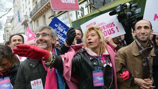 Frigide Barjot, alors porte-parole de La Manif pour tous, lors d'une manifestation contre le mariage homosexuel, le 13 janvier 2016 à Paris. (MIGUEL MEDINA / AFP)