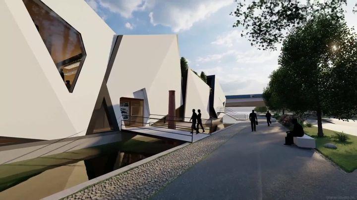 Projet de théâtre flottant de Lyon, Design & nbsp; Studio Koen Olthuis-Water. NL (français 3 Aura / KoenOlthuis-Waterstudio.NL)