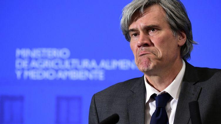 Stéphane Le Foll, ministre de l'Agriculture, lors d'une conférence de presse à Madrid (Espagne), le 28 août 2014. (JAVIER SORIANO / AFP)