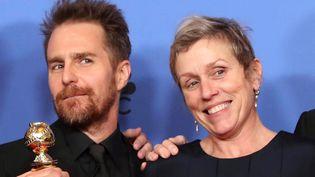 """Sam Rockwell et Frances McDormand ont été récompensés aux SAG Awards pour leurs rôles dans """"3 Billboards : les panneaux de la vengeance"""" (ici aux Golden Globes, où ils ont aussi été primés)  (Mike Nelson / EPA / Newscom / MaxPPP)"""
