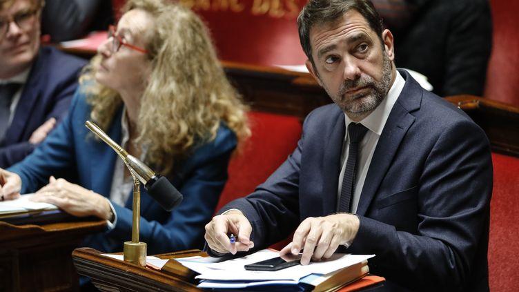 Christophe Castaner (à droite) à l'Assemblée nationale, mardi 5 novembre 2019. (THOMAS SAMSON / AFP)