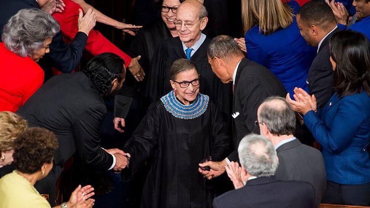 Ruth Bader Ginsburg, juge à la Cour suprême, arrive pour le discours sur l'état de l'Union du président Barack Obama au Capitole, le 20 janvier 2015. (BILL CLARK / CQ-ROLL CALL, INC.)