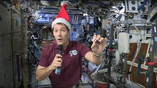 Thomas Pesquet, actuellement dans l'espace, décrit son repas de Noël dans une vidéo postée sur Youtube le 20 décembre 2016. (ESA / YOUTUBE)