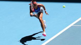 La Française Caroline Garcia lors de son match contreAshleigh Bartylors de la Fed Cup en Australie, le 9 novembre 2019. (TONY ASHBY / AFP)