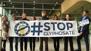 Des représentants des ONG opposées au glyphosate manifestent à Bruxelles (Belgique), le 23 octobre 2017. (OLIVER BECKHOFF / DPA / AFP)